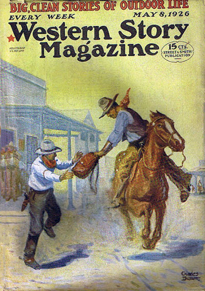 The painting as the cover of Western Story Magazine - May 8, 1926