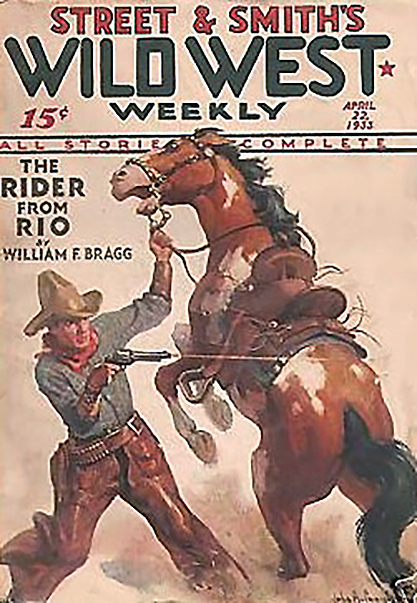 The painting as the cover of Wild West Weekly - April 22, 1933