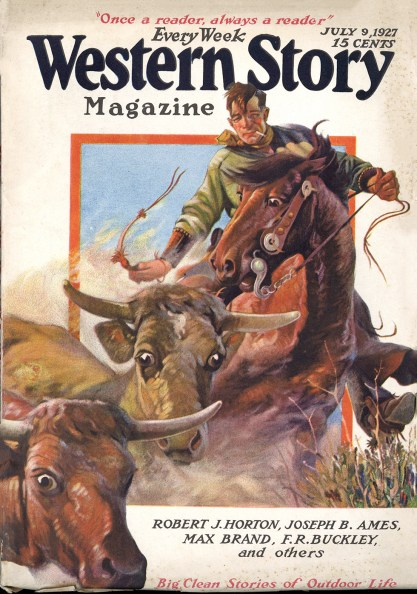 The illustration as the cover of Western Story Magazine - July 9, 1927 (included in sale).