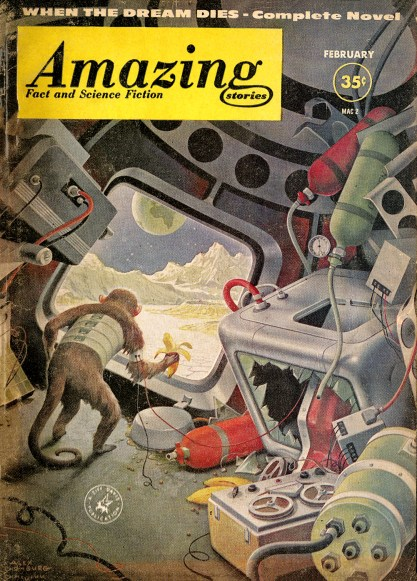 The artwork as it appeared on the February, 1961 cover of Amazing Stories (included in sale) .
