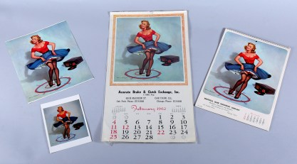 A collection of published vintage calendars and prints (included in sale).