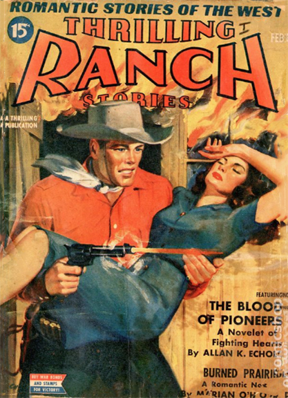 The artwork as it appeared on the cover of Thrilling Ranch Stories - February, 1943