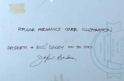 Artist's hand written notations on back - to Bill Daley - Illustration Gallery
