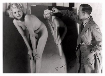 Zoe Mozert as a nude figure model for Earl Moran