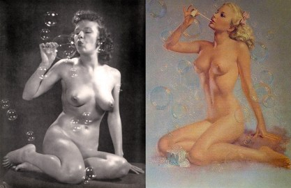 "The artist posed for and the completed Brown & Bigelow Print ""Bubbles""."