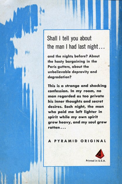 Verso of published Pyramid Paperback with story synopsis and text slug