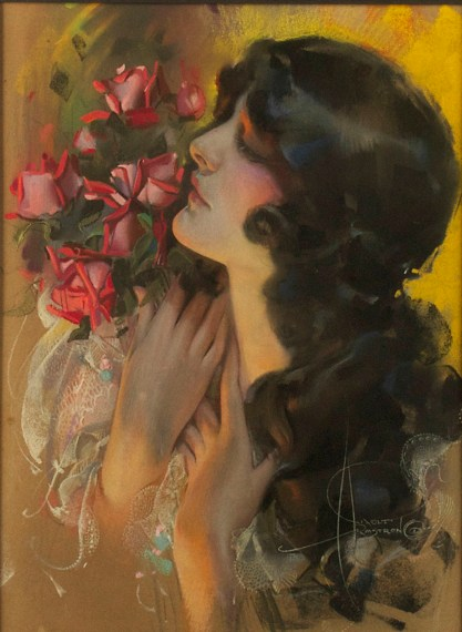 """The Dream Girl"" by Rolf Armstrong (pastel on illustration board, 1920s)"