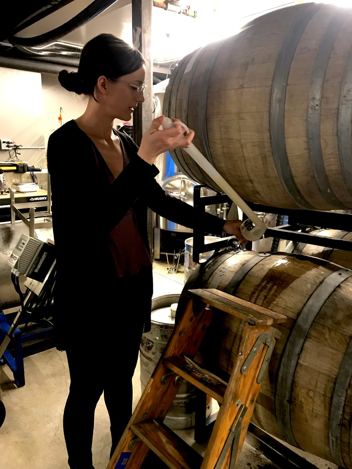 Anne pulling from barrel