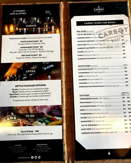 carboy menu