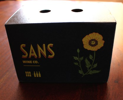 Sans Wine Company ships their products in a single cardboard box. This box contains six cans of wine which is equivalent in volume to three glass bottles!