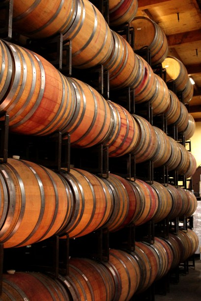There were 3-4 rows of these barrels, with one wine aging per row!