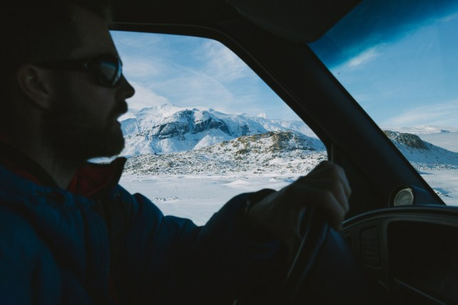 Driving on the glacier