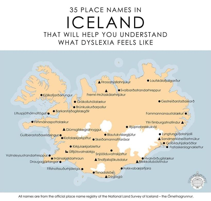 iceland map names icelandic place dyslexia pronounce hard placenames site places viral help goes maps terrible sneeze pronunciation feels crazy