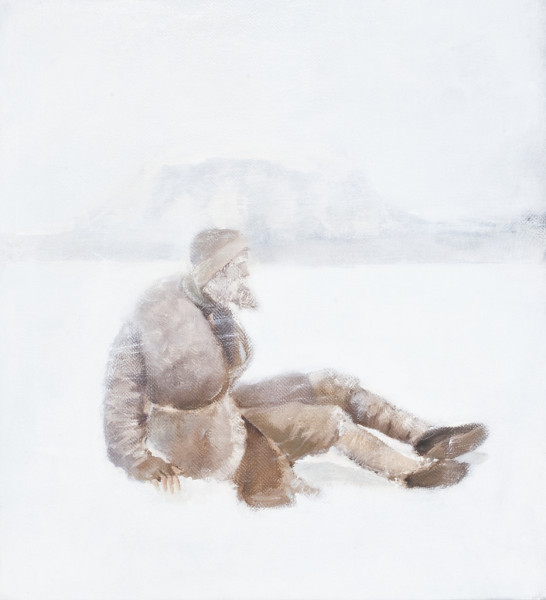 """""""Sunnan til Herðubreiðar"""" This work belongs to a series, made from the poem """"Áfangar"""" by Jón Helgason, where I made a painting to each verse. This painting corresponds to a verse that describes the hardships endured by one Iceland's most celebrated outlaws: Fjalla-Eyvindur, who spent winters alone, in a hole in the ground, up in the highlands."""