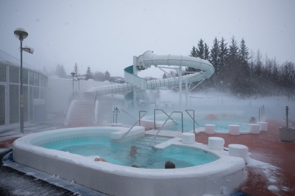 Swimming pool with hot water in the winter time