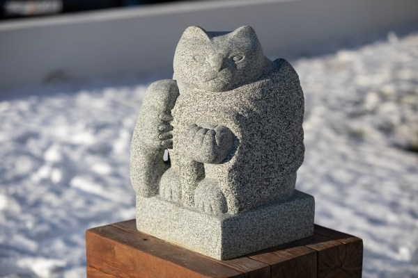 A cat sculpture made by Matthías