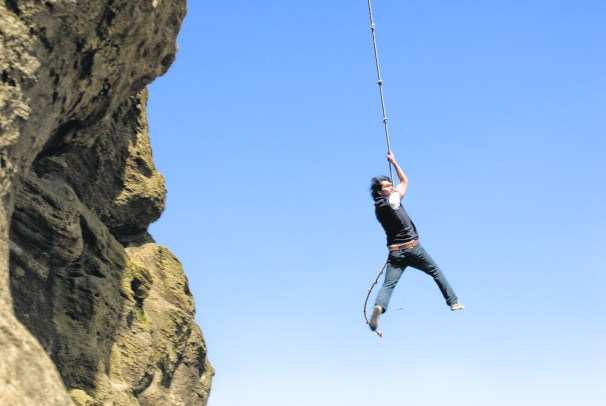 cliff rappelling by Julia Staples