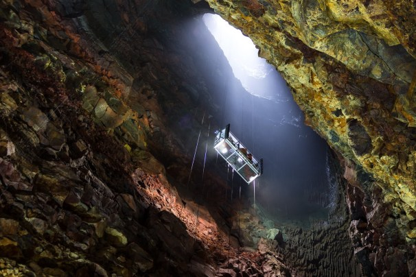 Inside The Volcano, the elevator that takes you into the depths