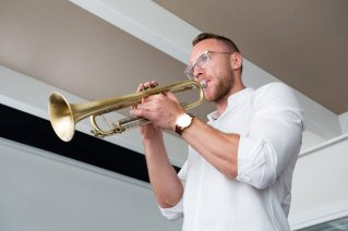 Ari Bragi says it's important that he practice the trumpet every day and maintain the instrument.