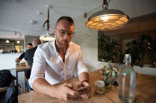 Not a moment wasted: Ari Bragi is a busy man.