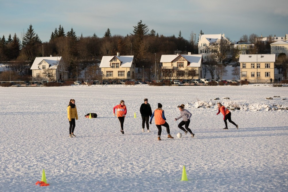 Smite The Winter: Icelanders Play Football On Frozen Lake In -8°C