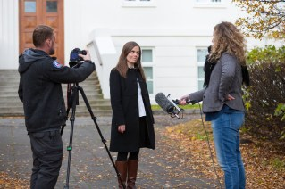 ...Katrín films a TV ad for her campaign.