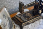 An ornate antique sewing machine