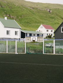 Some kinda strange football field where the goal is a hoop