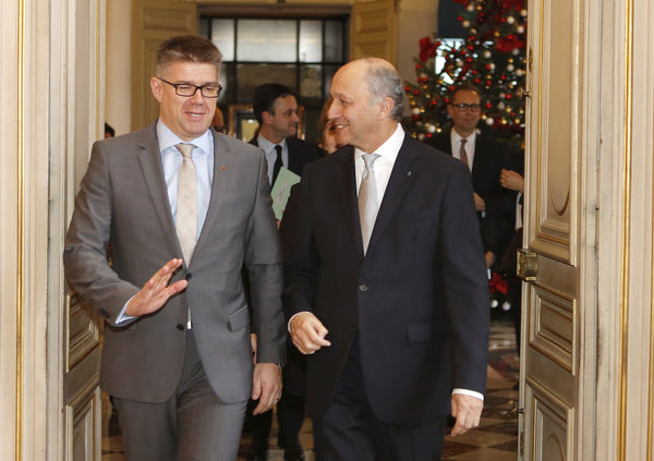 Foreign Ministers Gunnar Bragi and Laurent Fabius