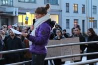 Oddný Arnarsdóttir at protest outside police station 2015 by Rebecca Conway