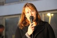 Sigríður Björk Guðjónsdóttir at protest outside police station 2015 by Rebecca Conway