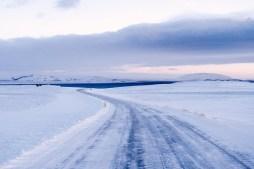 snowy road þingvallavatn þingvellir by Tim