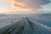 snowy road south Iceland by Timothée Lambrecq