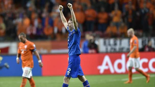Iceland's defender Birkir Saevarsson after winning the the UEFA Euro 2016 qualifying round football match between Netherlands and Iceland at the Arena Stadium, on September 3, 2015 in Amsterdam. Iceland won 0-1. AFP PHOTO / JOHN THYS.        (Photo credit should read JOHN THYS/AFP/Getty Images)