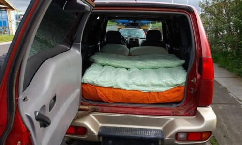Mattress In Backseat Of A Car Available On Airbnb