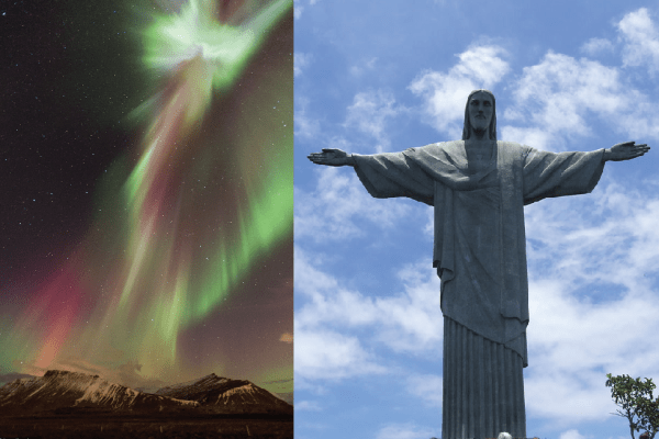 aurora borealis by jón hilmarsson and christ the redeemer by wikimedia commons