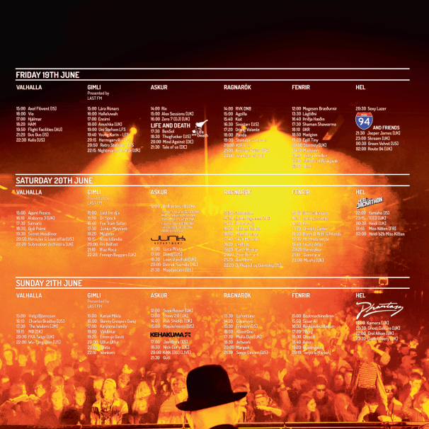 Secret Solstice Timetable