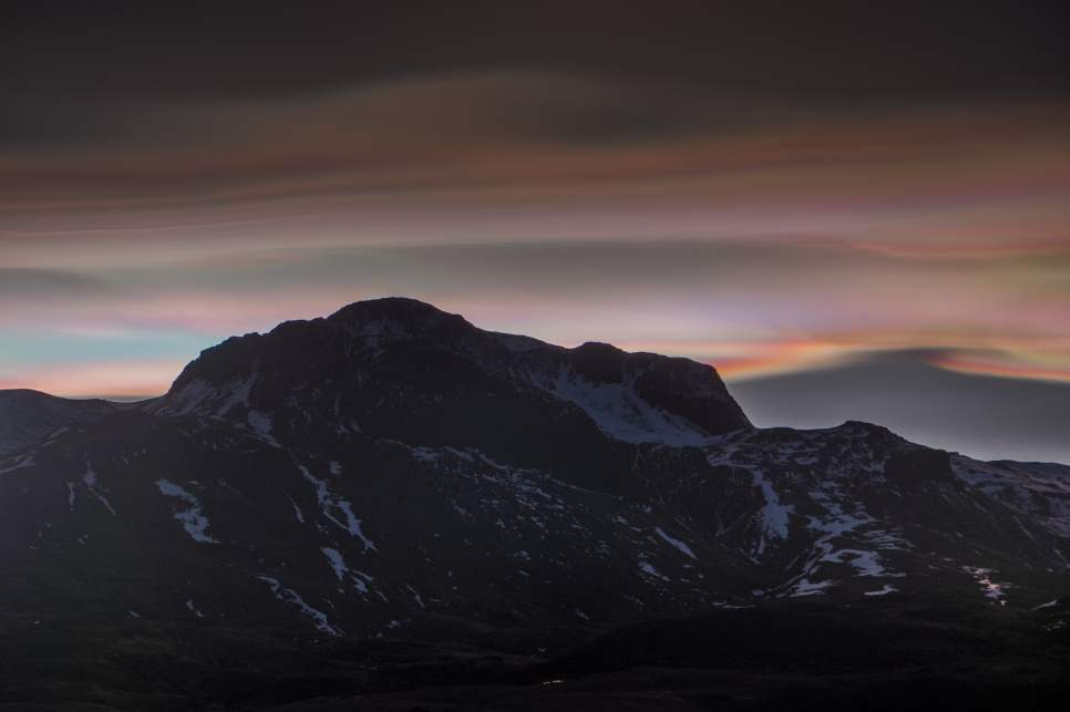 Nacreous clouds in the east