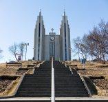 Akureyri's forbidding church.
