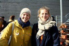 "Norwegians Trine and Åshild came to smell the sheep smell and watch ""handsome men in lopapeysas."""