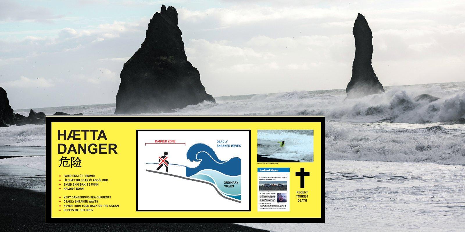 Newer Hazard Sign Goes Up At Reynisfjara Beach - The Reykjavik Grapevine