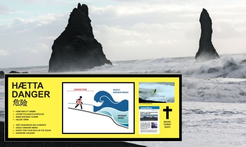 Newer Hazard Sign Goes Up At Reynisfjara Beach
