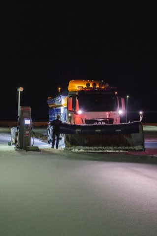 Snow ploughs working throughout the night