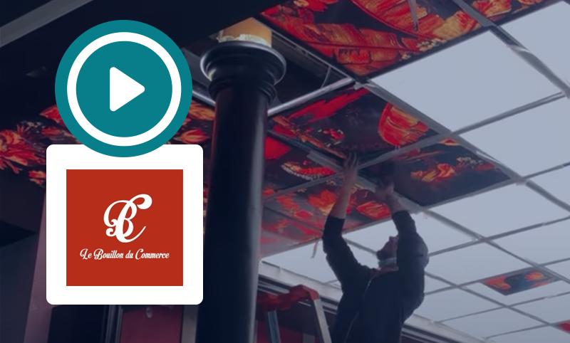 Fabrication et pose d'un plafond lumineux pour un restaurant : Le Bouillon du Commerce.