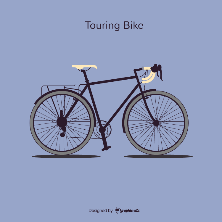 Single Tourning Bike Lineal Color Vector Design