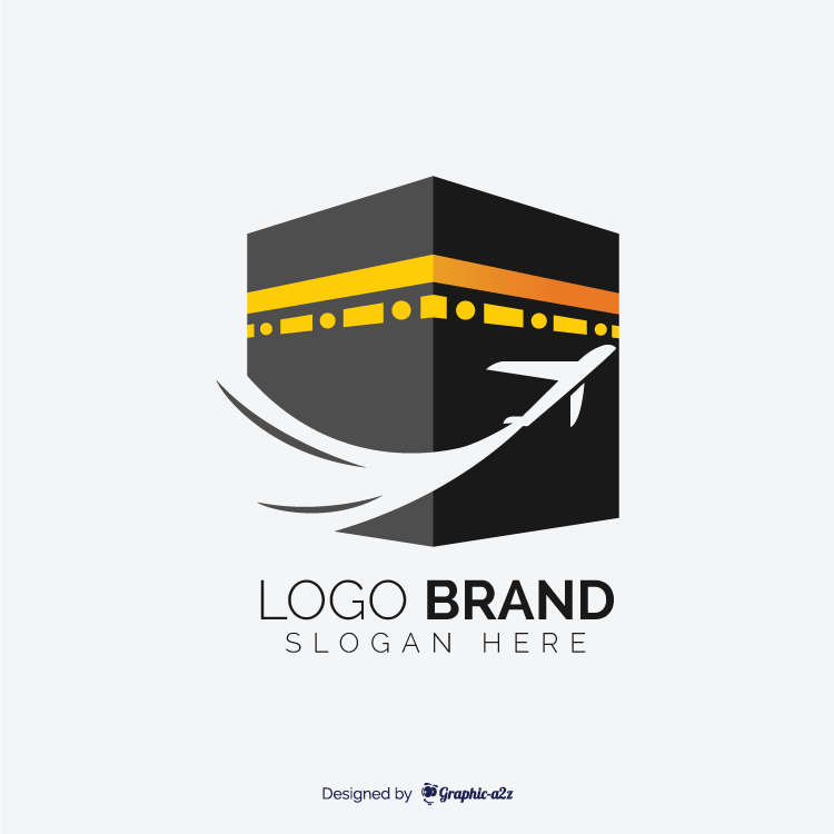 Hajj travel agency vector logo design with kaaba
