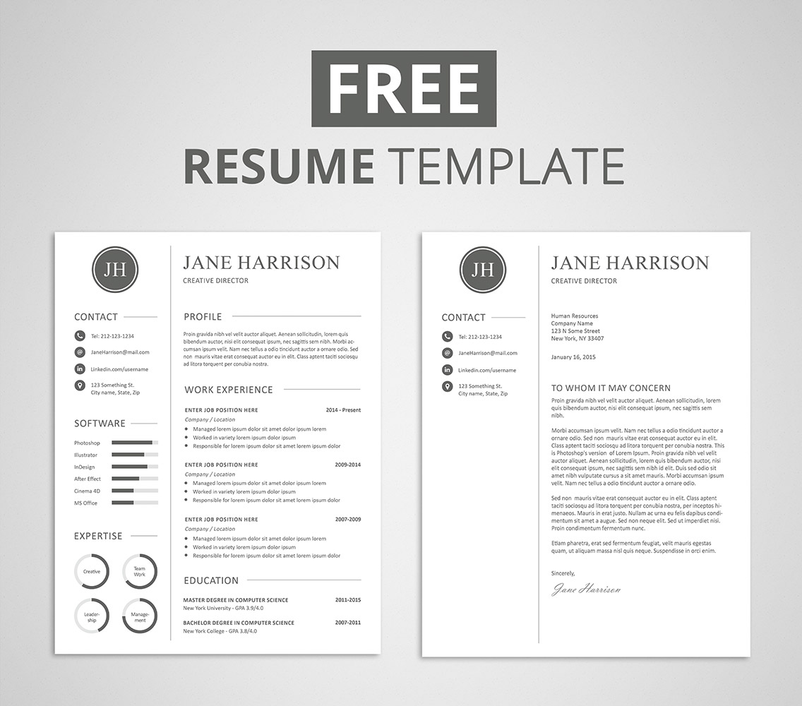 Free Cover Letter And Resume Templates Free Resume Template And Cover Letter Graphicadi