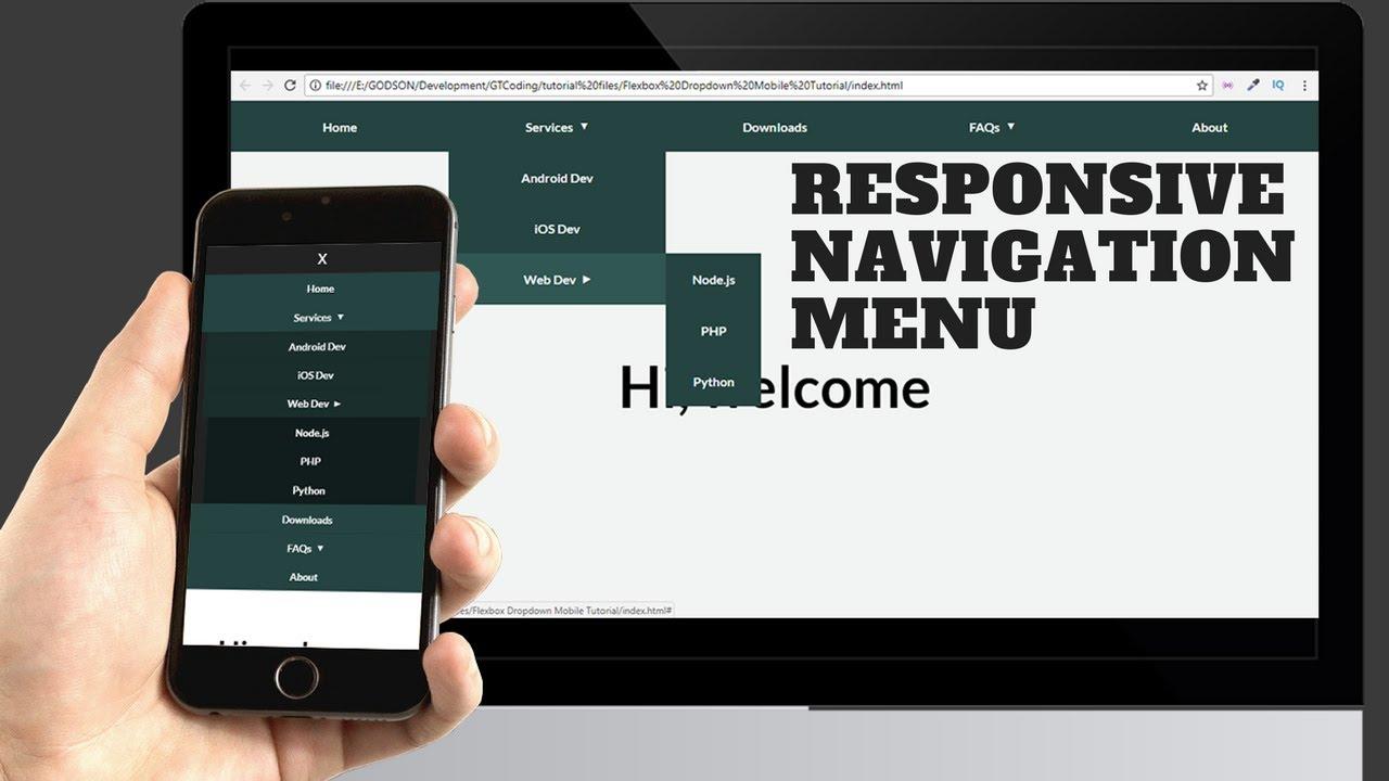Responsive Mobile Dropdown Navigation Tutorial Web Design Tutorial Graphic Art Design