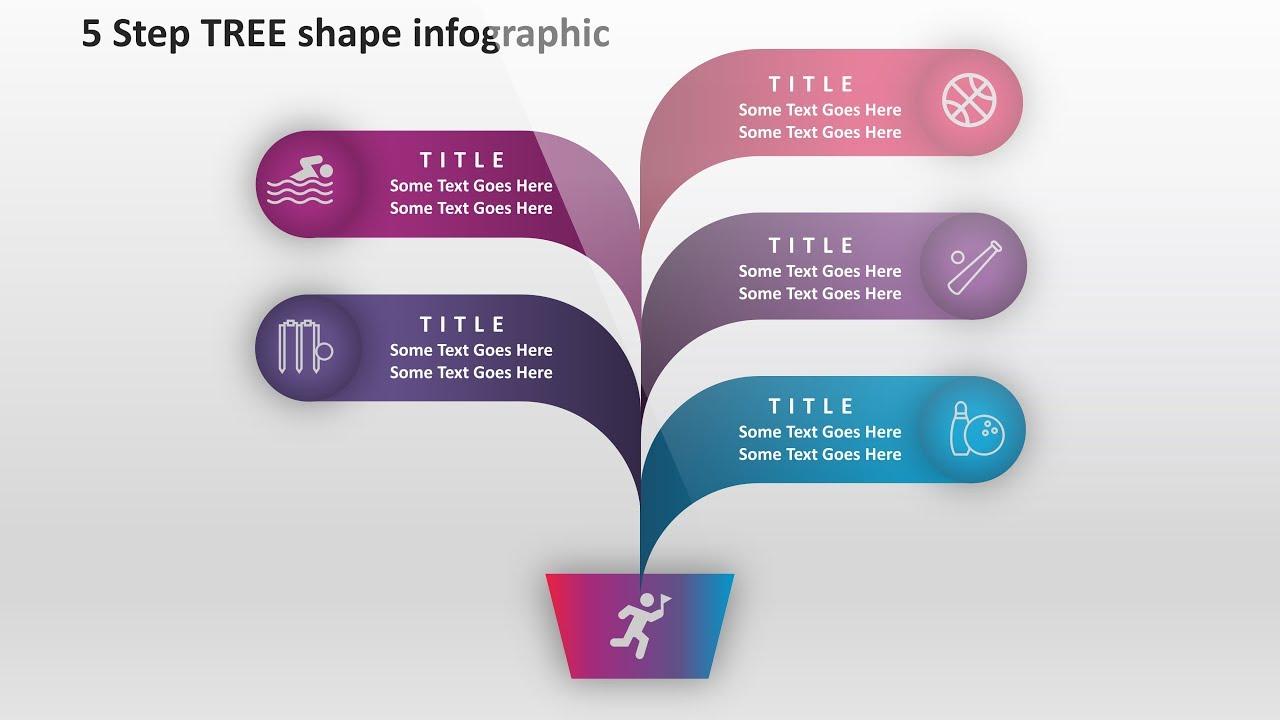 4 create 5 step tree shape infographics powerpoint presentation