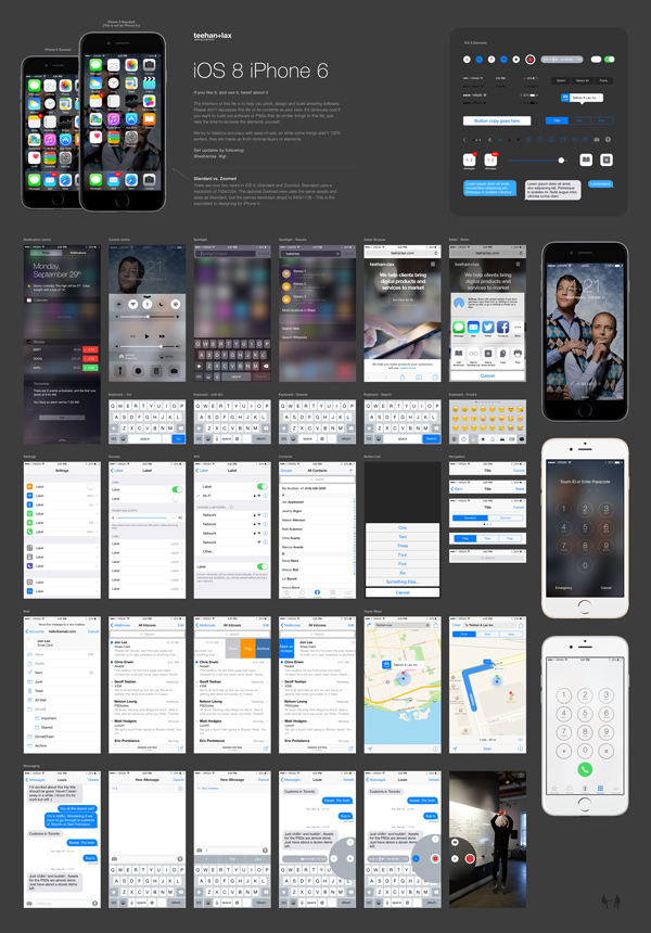 iOS 8 GUI PSD for iPhone 6  GraphicBurger